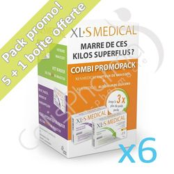 XLS Medical Capteur de Graisses + Bloqueur de Glucides - 6 boites Promo Pack