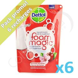 Dettolhygiene - 6 recharges de savon Foam Magic Cerise
