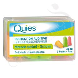 Quies Protection Auditive Mousse Fluo - 3 paires