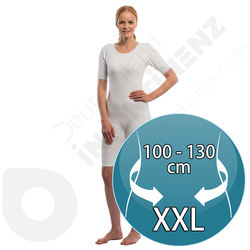 Suprima Short Sleeves White Bodysuit with Zipper - XXL